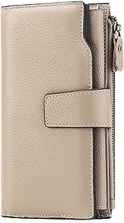 SENDEFN Women Leather Wallets RFID Blocking Clutch Card Holder Ladies Purse (Brown)