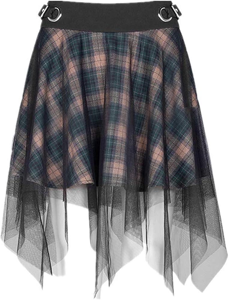 NC PUNKRAVE Women's Dark Mesh Skirt Gothic Asymmetric Hem A-line Casual High Waist Cotton Short Skirts