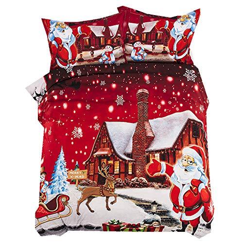 Stillshine Navidad Ropa de Cama 3 Piezas 220x240 Santa Claus Funda nórdica y Funda de Almohada Ropa de Cama Poliéster superfino Suave y Transpirable