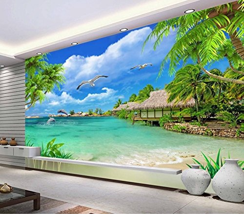 Fotomural, papel pintado fotográfico moderno en 3D para pared paisaje foto palm murals natural vinilo adhesivo Roll Tv fondo ladrillo Walpaper, 250 cm x 175 cm