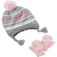 Carter's Girls Fair Isle Pom Pom Winter Hat and Mitten/Glove Set (Pink/Grey, 2T-4T)