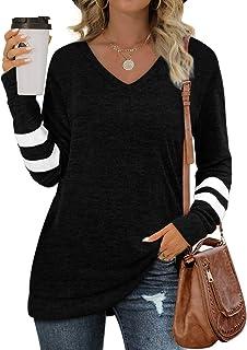 Sweatshirts for Women Long Sleeve V Neck Sweaters Tunic...