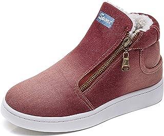 XIANV حذاء شتوي دافئ للنساء جينز جينز جزمة الثلوج كلاسيك عالية الرقبة جولة اصبع القدم عارضة أحذية رياضية, (أحمر), 39 EU