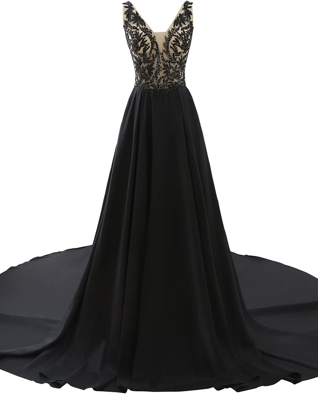 Epinkbridal V Neck Prom Dress Gowns with Embellished Bodice Wedding Guest Dress