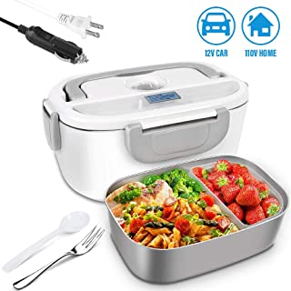 Electric Lunch Heating Box, 2-in-1 Meal Heating Box, Suitable For Car/Home/Office/Picnic 110V 12V, 1.5L Removable Stainless Steel Container, Including 1 fork For Free(Gray)
