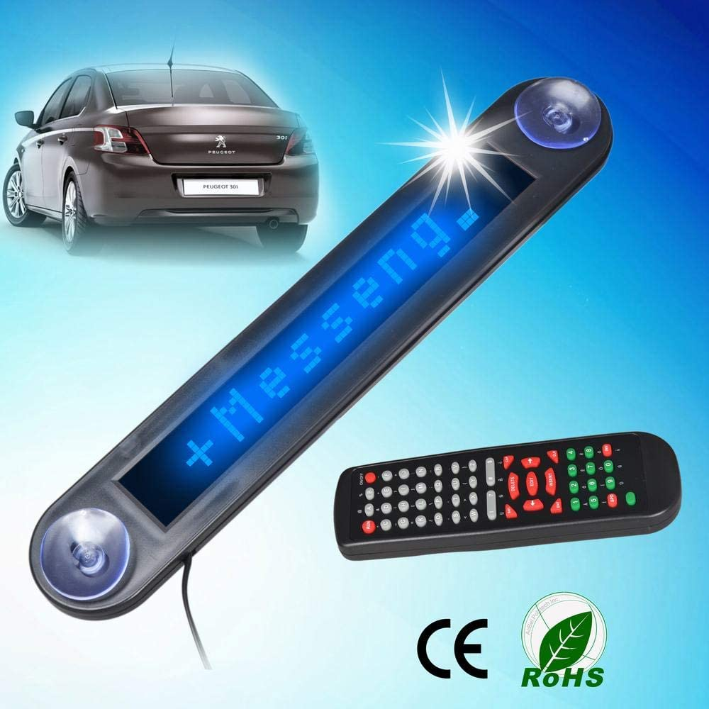 Car Programmable Message Sign with Remote Controller Light for Glass of Car Store ieGeek LED Rolling Text Display Light 12V