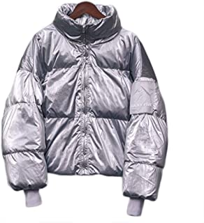 Bright Down Jacket Ladies Thick Stand-up Collar Loose Leather Label Disposable Bread Suit for Daily Travel and Outdoor Warmth (Color : Silver, Size : One Size)