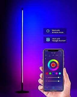 چراغ طبقه RGB - چراغ طبقه گوشه هوشمند برای اتاق خواب - چراغ طبقه LED مدرن با ریموت APP ، 36 ایستگاه از پیش تنظیم روشنایی ، کنترل صدا - چراغ ایستاده فلزی قابل تنظیم برای اتاق نشیمن ، مطالعه