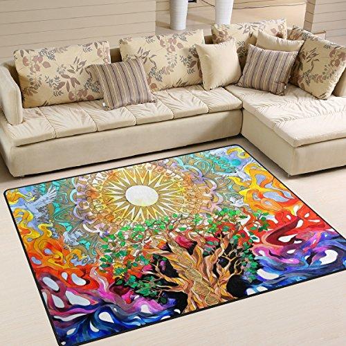 LORVIES Trippy Art Nature Area Rug Carpet Non-Slip Floor Mat Doormats for Living Room Bedroom 63 x 48 inches
