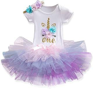 HALAMODO Newborn Girls It's My 1st Birthday Outfits Clothing Baby Girls' Tutu Dress Short Sleeve Colours One Romper Top La...