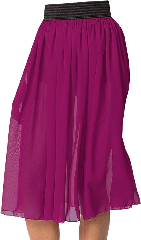 Meek Mercery Elastic Waist Chiffon Midi Skirt Summer/Beach Wear Casual Wear One Size C15