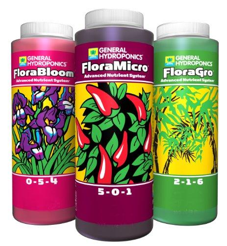 General Hydroponics Flora Gro, Bloom, Micro Combo Fertilizer Set
