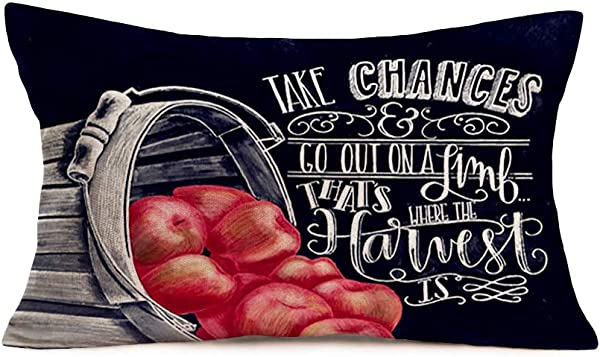 Hopyeer Back Style Autumn Harvest Awaits Throw Pillow Covers Decor Farmhouse Red Apples Vintage Wood Buckets Fall Blessing Quote Words Cotton Linen Pillowcase For Sofa Bed 12x20Inch BS Apples