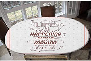 Housse de table élastique en polyester Motif Life is what is happening while you re making other plans. Live it Attitude A...
