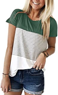 Best Seller in Women s Knits   Tees · YunJey Short Sleeve and Long Sleeve  Round Neck Triple Color Block Stripe T-Shirt Casual 102fcab37