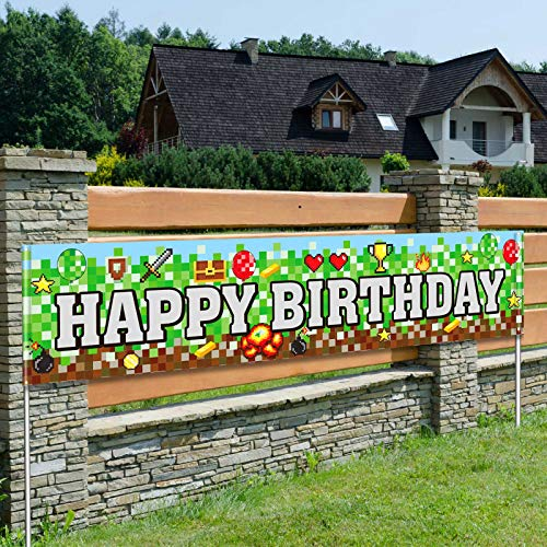 Large Pixel Theme Happy Birthday Banner Pixel Miner Crafting Banner Pixel Party Decorations Boys Birthday Party Indoor and Outdoor Decor Gamer Party Favors