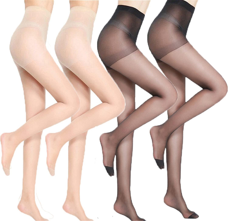 4 PCS Universal Stretch Anti-Scratch Stockings Translucent Invisible Stockings Free Size Anti-Cut Stockings (2 Black + 2 Khaki)