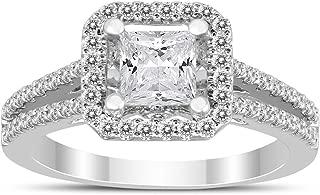 1 Carat TW Halo Princess Diamond Engagement Ring in 14K White Gold.