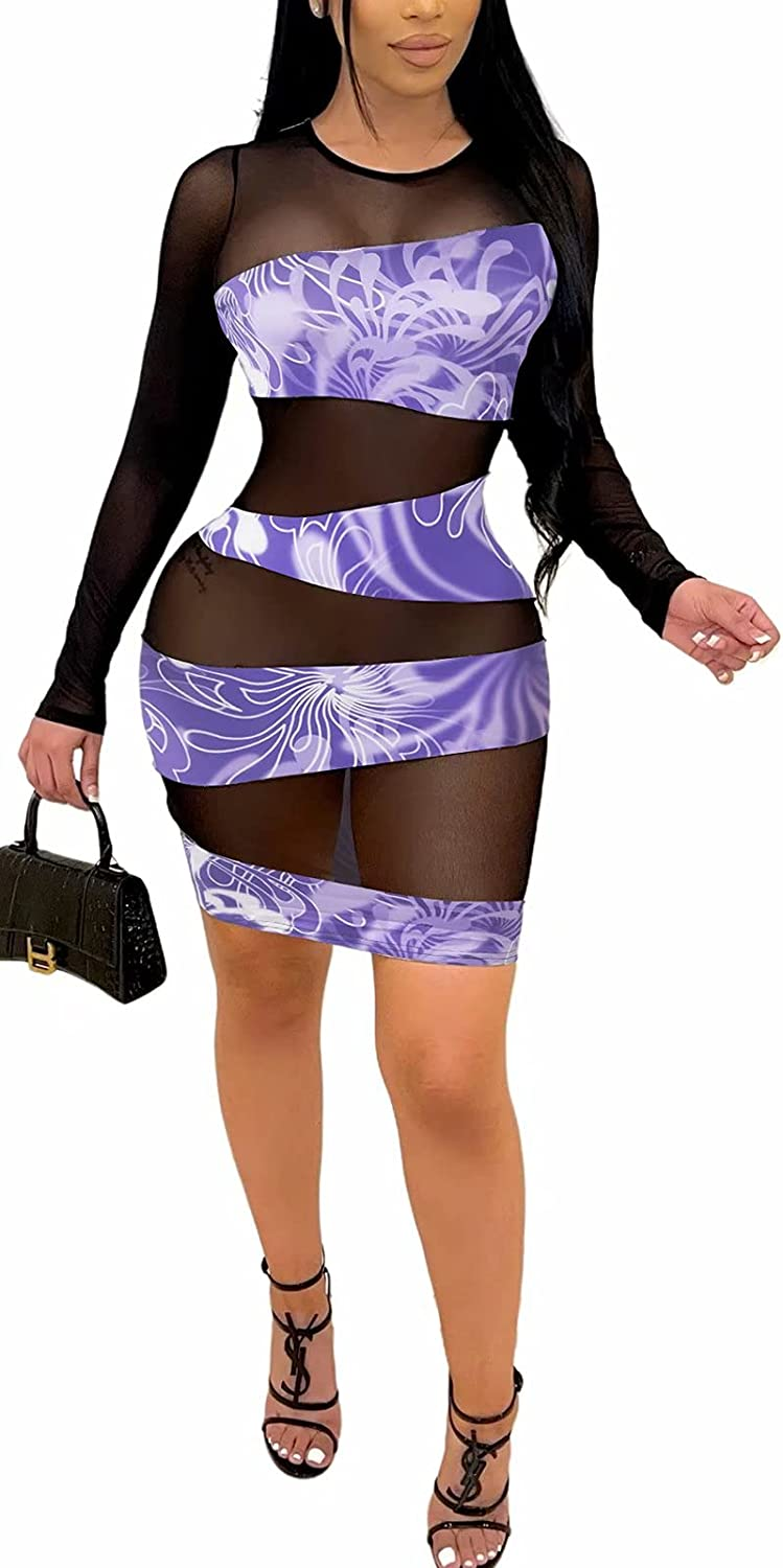 Women's Sexy Mesh Long Sleeve Bodycon Dress Club Outfits See Through Printed Patchwork Party Mini Dresses