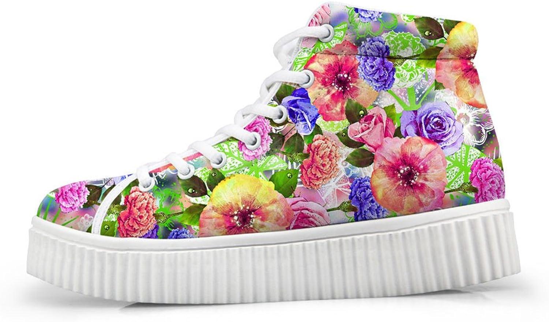 Mumeson Women's Plarform Sneaker Floral Pattern Comfort Walking shoes for Girls Students Footwear