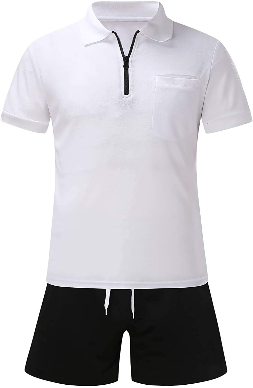Men's tracksuits sets,Men's Summer 2-Piece Beach Dot Printed Short Sleeve Shirts & Shorts Pants Sets