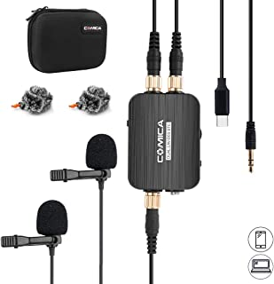 USB Type C Microphone, Comica CVM-D03 STC Omnidirecitonal Dual Head Lavalier Lapel Microphone with Real-time Monitoring, Stepless Sensitivity Adjustment, Clip-on Mic for Samsung Huawei Google Pixel