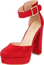 Cambridge Select Women's Buckle Thick Ankle Strap Chunky Platform High Heel Pump