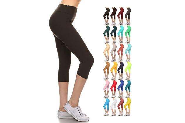 c3a667e0a978ab Leggings Depot Higher Waist Women s Buttery Soft Solid Yoga Capri Leggings  - Many Colors (Black