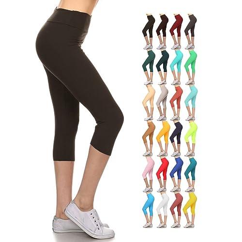 8ad9976b075f7d Leggings Depot Higher Waist Women's Buttery Soft Solid Yoga Capri Leggings  - Many Colors
