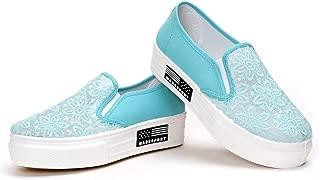 lcky Lace Platform Shoes Hollow Sports Shoes Women's mesh Canvas Shoes Flowers