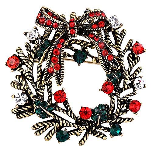 Clearine Damen Vintage Inspiriert Kristall Fröhlicher Weihnachten Feiertag Kranz Brosche Pin Bunt Antique-Gold-Ton