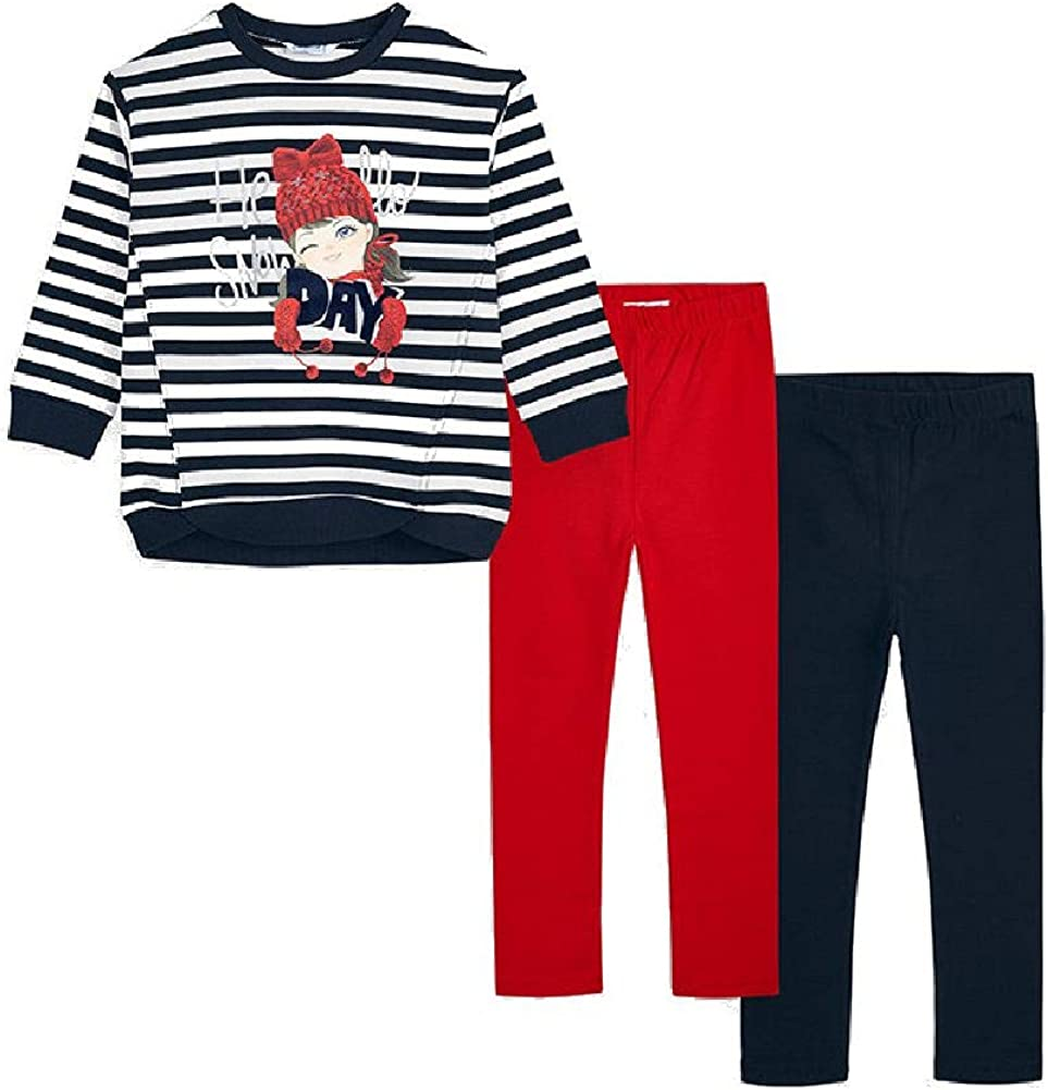 Mayoral M/ädchen Set Sweatshirt und 2er Pack Leggings 3-teilig