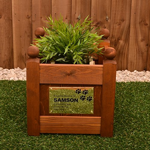 Signs & Numbers Pet Memorial Planter with Personalised Brass Plaque