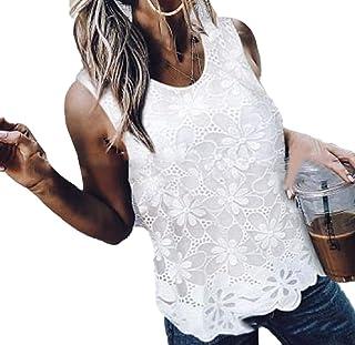 desolateness Women's Tank Tops Sexy Lace Summer Blouse Elegant Vest Sleeveless Shirt Tops Crewneck Blouse