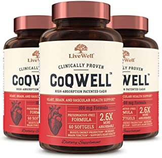 CoQ10 Heart, Brain, and Vascular Health Support - CoQWell | High-Absorption, Patented Coenzyme Q10 CoQsol | 180 Softgels - 180 Day Supply