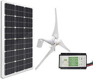 ECO-WORTHY Kit Solar de 12 voltios y 500 vatios: 12V / 24V 400W Wind Turbine + 12V 100W Panel Solar monocristalino + 24cm de Cable para Uso doméstico