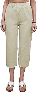 Women's Casual Elastic Waist Capri Pants Solid Cotton...