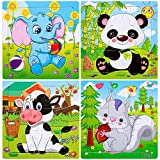 Wooden Jigsaw Puzzles Set for Kids Age 2-5 Years Old 9 Pieces Preschool Puzzles for Toddler Children Learning Educational Puzzles Toys for Boys and Girls (4 Puzzles)