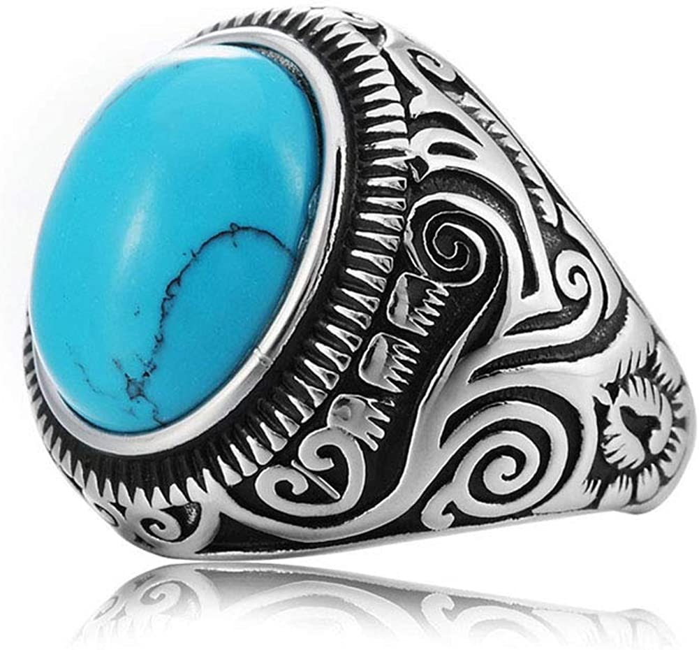 MZC Jewelry Synthetic Turquoise Ring Vintage Oval Statement Stainless Steel Ring Size 8 to 12 for Men Women Birthday Party