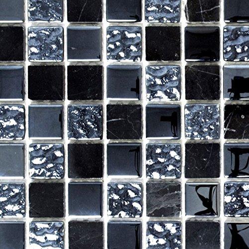 Mosaik Fliese Transluzent grau schwarz Glasmosaik Crystal Stein grau schwarz für WAND BAD WC DUSCHE KÜCHE FLIESENSPIEGEL THEKENVERKLEIDUNG BADEWANNENVERKLEIDUNG Mosaikmatte Mosaikplatte