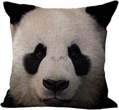 HomeTaste Panda Face Decorative Throw Pillow Cover Cotton Linen Blend Cushion Case 18x18