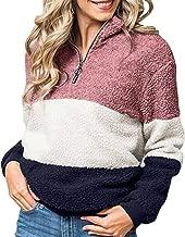 QIQIU Tops Womens Zipper Plush Warm Casual Patchwork Long Sleeve Color Block Hoodie Sweater Blouses