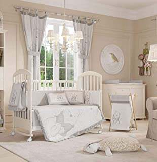 Disney Gray Winnie The Pooh Crib Bedding Collection (4PC + 1 Set Curtain)