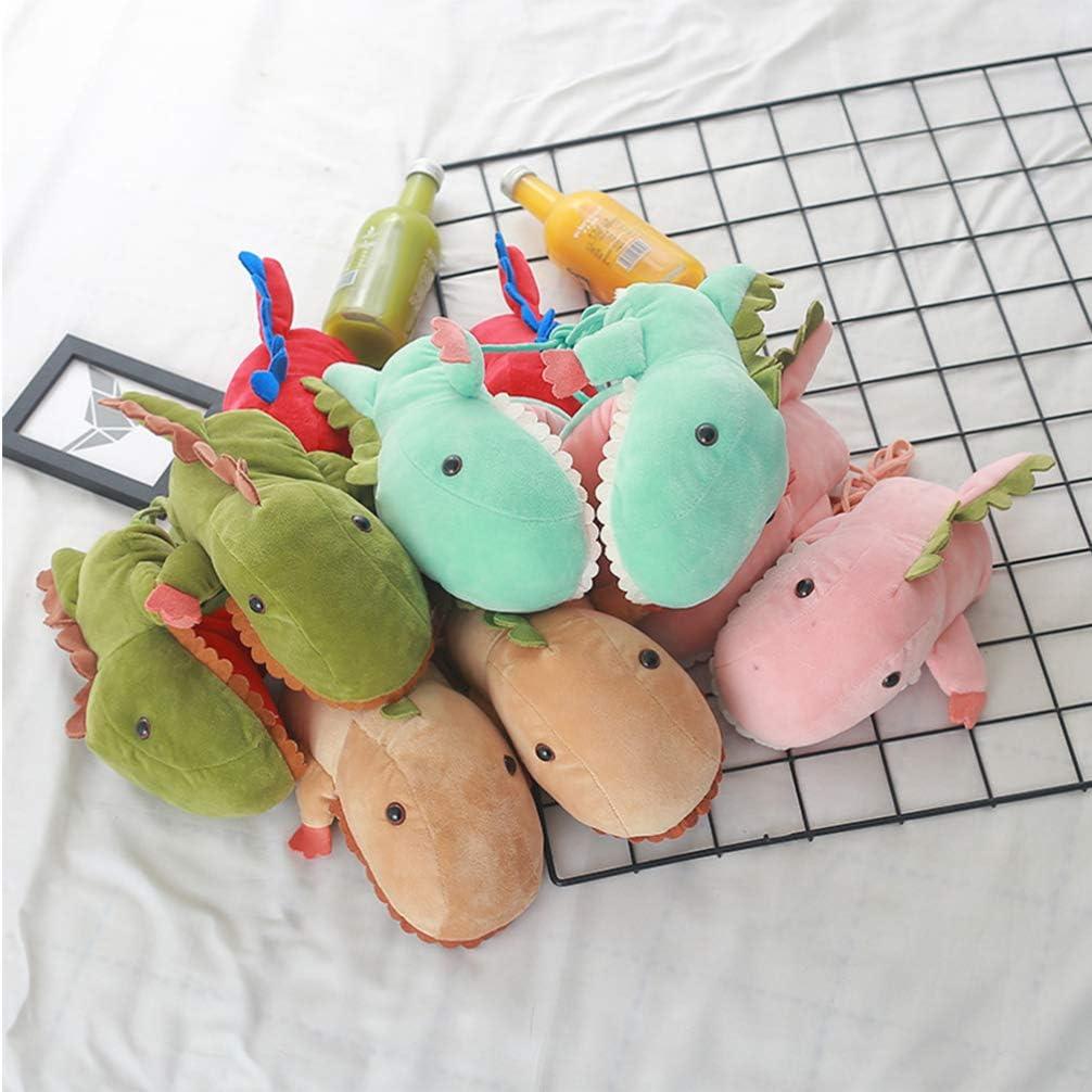 BESPORTBLE 1 Pair Warm Gloves Lovely Cartoon Dinosaur Molding Gloves Plush Gloves with String for Kids Girls Winter (Green)
