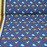 Baumwolljersey von Hilco, Dinos, Bordüre, blau (25cm x