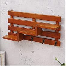 GuoWei Wood Wall Shelf Storage Rack Organise Display Ornaments Living Room Bedroom Decoration Retro Style, 2 Colors (Color...