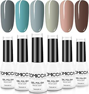 TOMICCA Gel Polish, 6 Colour Nail Polish Set, Nail Art Manicure, Soak Off UV LED