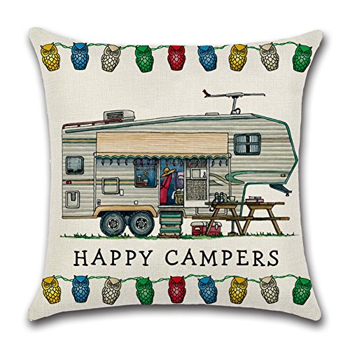 YANGYULU Cute RV Vintage Camper Travel Trailer Cotton Linen Home Decorative Throw Pillow Case Sofa Cushion Cover 18 x 18 (STYLY06)