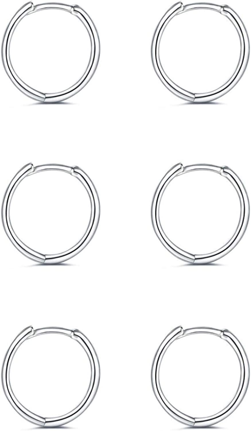 925 Max 65% OFF Sterling Silver Hoop Earrings for Pairs Women Now free shipping - 3 Hypoallerg