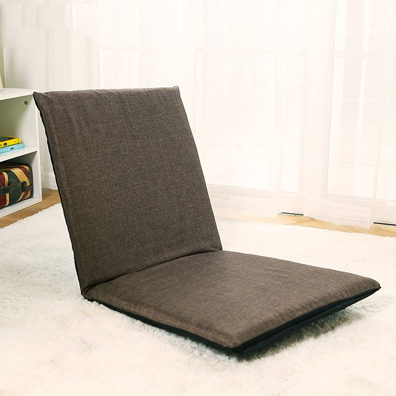 GFL-Chairs Floor Chair Foldable Bay Windo Chair Single Sofa Sandy Beach Leisure Recliners 5 Files Adjustable (A+++) (color   Brown)